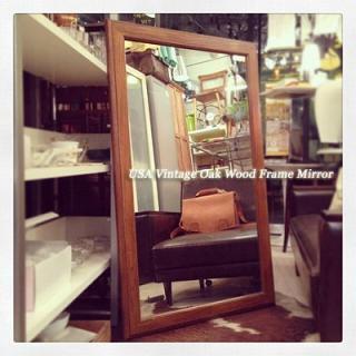 ☆ USA Vintage  Oak Wood Frame Mirror / アメリカ ビンテージ オーク材フレームミラー