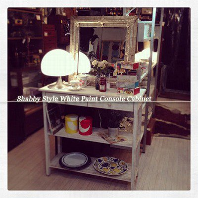 ☆ Shabby Style White Paint Console Cabinet / シャビースタイル ホワイトペイント コンソールキャビネット