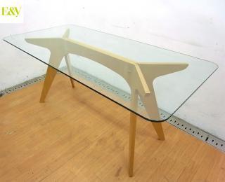 ● E&Y ペガサス ダイニングテーブル プライウッド ガラス天板