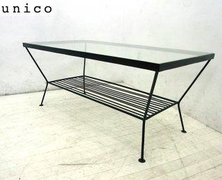 ● unico ウニコ EDDY エディ アイアンフレーム ガラステーブル L