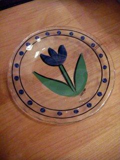 ■Kosta Boda コスタボダ Tulipa ガラスプレート スウェーデン ネイビーNAVY