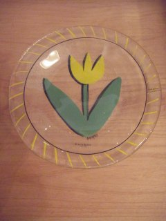 ■Kosta Boda コスタボダ Tulipa ガラスプレート スウェーデン Yellow イエロー