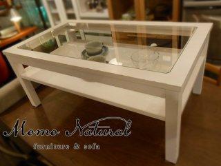 ◎MOMO natural(モモナチュラル)/CIELE(シエル)シリーズ BIT GLASS TOP テーブル