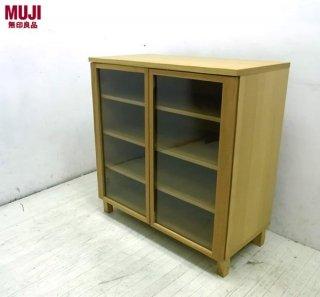 ◇ � MUJI 無印良品 木製ガラスキャビネット 飾り棚 タモ材