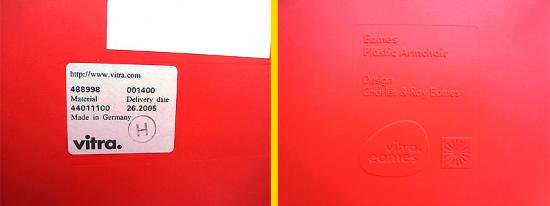 Swiss Vitra / 廃番ヴィトラ社製 ★ C&R.Eames / イームズデザイン ★ 『 アームシェルチェア ( エッフェルベースタイプ=DAR ) レッドカラー 』