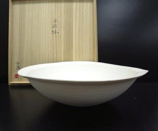 黒田泰蔵  白磁大鉢  直径約37cm 共箱 本物保証 ●