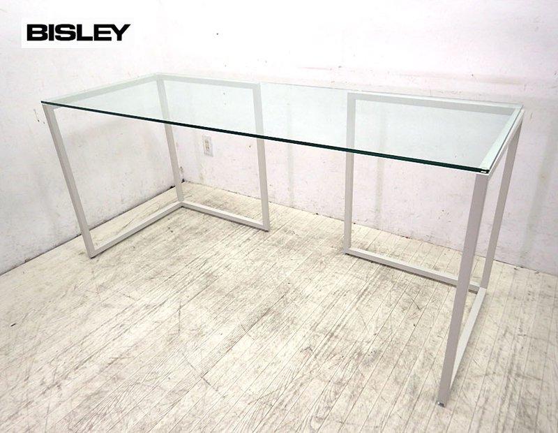 ○ 展示品 英国 BISLEY ビスレー ガラス天板 デスク L-FOOT 白