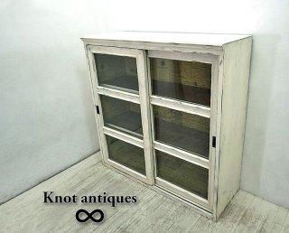 Knot Antiques / ノットアンティークス by CRUSH CRASH PROJECT / クラッシュプロジェクト ★ ガラス扉 『 クイーンキャビネット ・ 3段 』 ★ 白家具