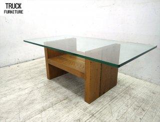 ● Truck Furniture トラックファニチャー オーク無垢材 ガラストップセンターテーブル