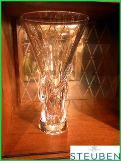 ■ STEUBEN スチューベン クリスタル ツイスト フラワーベース 花瓶 約30�