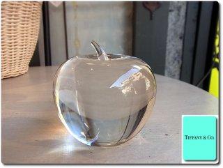 廃番 ティファニー Tiffany&Co. クリスタル アップル ペーパーウェイト  りんご インテリア ■