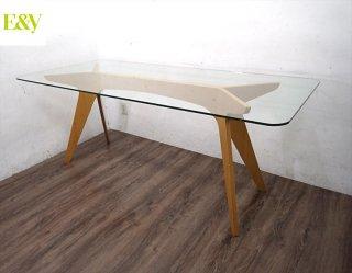 E&Y ペガサス ダイニングテーブル プライウッド ガラス天板 Lサイズ ●