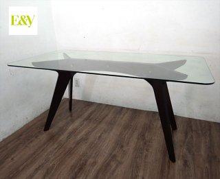 E&Y ペガサス ダイニングテーブル プライウッド ガラス天板●