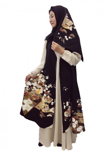 日本の最高級の美をムスリムファッションに!黒留袖ロングカーディガン 扇モチーフ