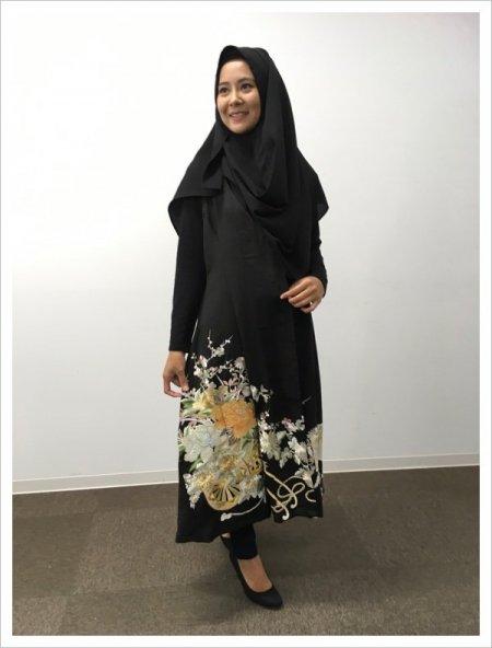 【NEW】日本の最高級の美!!着物KIMONOムスリムファッション!黒留袖ロングカーディガン!!