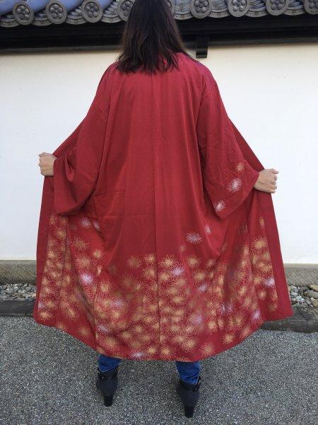 【世界に一枚しかない逸品】赤色と金糸の刺繍が際立つ着物アバヤ。