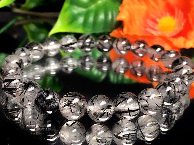現物商品!AA+ブラックルチルクォーツ 8ミリ数珠 br-103
