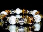 タイガーアイ12ミリ×ハウライト12ミリ×水晶10ミリ数珠