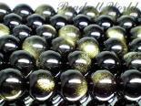 連素材◇ゴールデンオブシディアン【黒曜石】6ミリ〜12ミリ 約40センチ