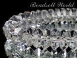連素材◇ボタン(そろばん型)水晶【20面カット】-3×6ミリ-4×8ミリ- 約40センチ