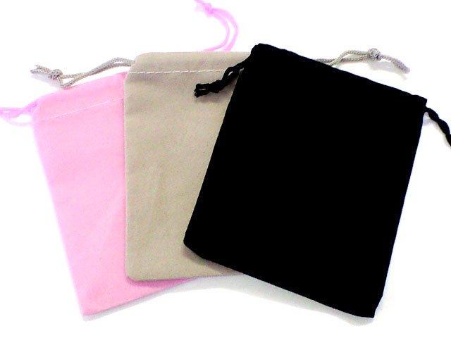 10枚セット価格!アクセサリー/小物入れにオススメ  【ベロア調巾着袋】10×11.5センチ /全3色