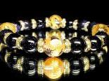 金彫四神獣水晶12ミリ×ブルーゴールドストーン10ミリ 巾着袋付 (手首サイズ17センチ)