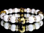 金彫四神獣オニキス12ミリ×高級ハウライト10ミリ 巾着袋付 (手首サイズ17センチ)