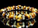 金彫四神獣オニキス12ミリ×タイガーアイ10ミリ数珠 巾着袋付 (手首サイズ17センチ)