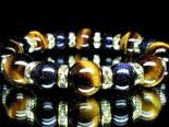 巾着袋付!AAA高級タイガーアイ12ミリ×輝石ブルーゴールドストーン10ミリ数珠