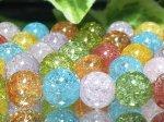 連素材◇マルチカラークラック水晶(加工石) 6ミリ〜12ミリ 約40センチ