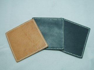 栃木レザー(オイルプルアップ)四角型コースター 手縫い