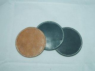 栃木レザー(オイルプルアップ)丸型コースター 手縫い