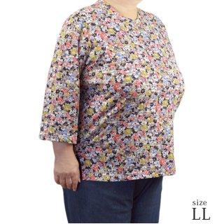 7分袖綿100%マルフク製Tシャツ LL【日本製】【春夏】【ミセス ハイミセス】