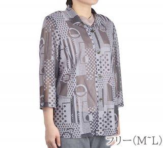 オパール加工シャツジャケット フリーM〜L 日本製 竹繊維 夏 婦人服 レディース
