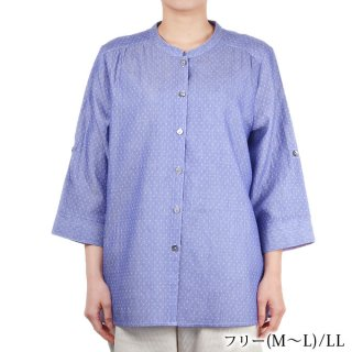 7分袖ブラウス ダブルガーゼ 綿100% M〜L/LL シニアファッション レディース 婦人服 春夏