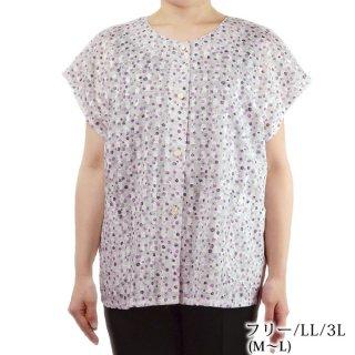 綿カットボイルフレンチ袖ブラウス フリー/L/LL 綿100% 日本製 シニアファッション 婦人服