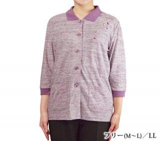 前開き7分袖ポロシャツ フリーM〜L/LL 夏秋 シニアファッション 婦人服 中国製