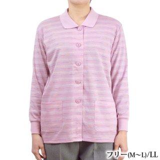 前開き長袖ポロシャツ フリーM〜L/LL ジャガード 春 シニア レディース 婦人服 カーデ 中国製