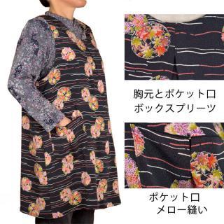縮緬キッチンエプロン【シニアファッション】【かぶり】