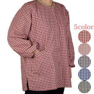 ダンガリー格子スモック フリー・LLサイズ エプロン シニアファッション