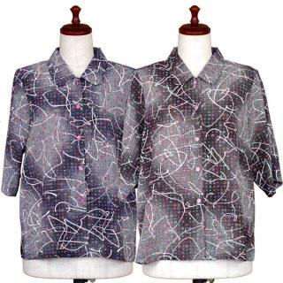 エステル5分袖襟付きブラウス【50代・60代・70代・80代】【シニアファッション】【おばあちゃん】