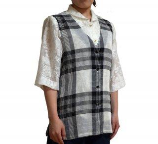 先染め格子ベスト☆フリー・LL・3Lサイズ 選べる3色カラー【大きいサイズ】【シニアファッション】【婦人服】