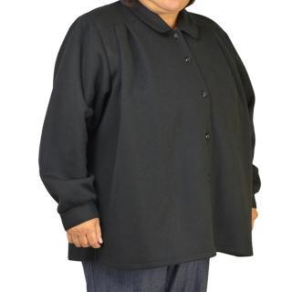 ウール混礼装用オーバーブラウス 3L 黒 ミセス フォーマル 冬物
