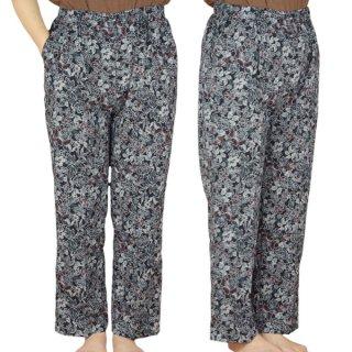 綿揚柳紺地パンツ2 (LL.3L)【スラックス】【大きいサイズ】【シニアファッション】【モンスラ】【婦人服】