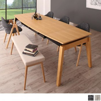 北欧ダイニングスライド伸縮テーブルMALIAマリア 6点セット(ダイニングテーブル+チェア4脚+ベンチ1脚) |人気の通販店Sotao