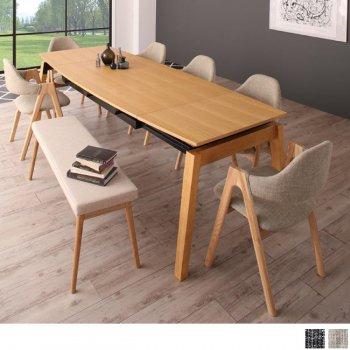 北欧ダイニングスライド伸縮テーブルMALIAマリア 8点セット(ダイニングテーブル+チェア6脚+ベンチ1脚) |人気の通販店Sotao