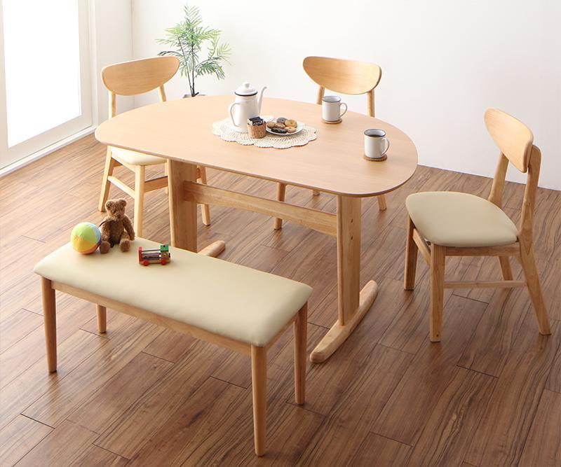 天然木半円テーブルダイニング Luneリュヌ 5点セットB(テーブル+チェア3脚+ベンチ1脚)  W135の画像