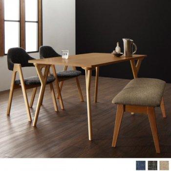 北欧モダンデザインダイニング(テーブル+チェア2脚+ベンチ1脚)ILALIイラーリ/4点セット(テーブル+チェア2脚+ベンチ1脚)|Sotao