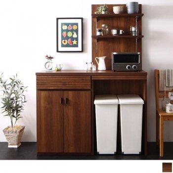 日本製完成品ごみ箱収納スペース付きキッチンカウンター Contrea コントレア 幅60シェルフパネル付き|人気の通販店Sotao