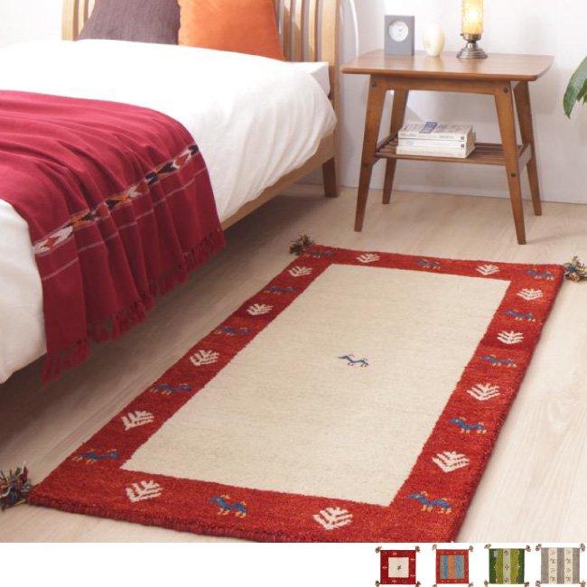 ウール100%インド製手織りギャッベラグ・マット GABELIA ギャベリア 70×120cmの画像
